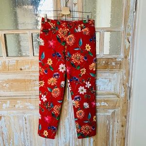 Johnny Lambs Red Floral Stretchy Crop Jeans